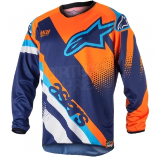2018 Alpinestars Racer Kit Combo - Supermatic Blue Flo Orange Aqua Image 2