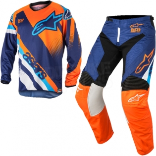 2018 Alpinestars Racer Kit Combo - Supermatic Blue Flo Orange Aqua Image 3