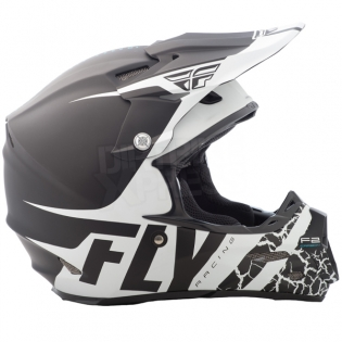 2018 Fly Racing F2 Carbon Helmet - Fracture Matte Black White Image 3