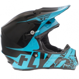 2018 Fly Racing F2 Carbon Helmet - Fracture Gloss Light Blue Black Image 3