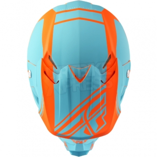 2018 Fly Racing F2 Carbon Helmet - Rewire Matte Light Blue Orange Image 2