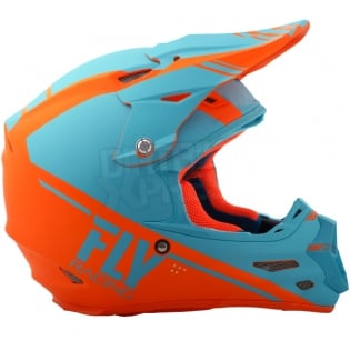 2018 Fly Racing F2 Carbon Helmet - Rewire Matte Light Blue Orange Image 3