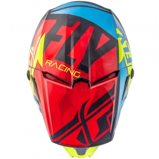 2018 Fly Racing Elite Helmet - Guild Gloss Red Blue Hi Viz Image 2