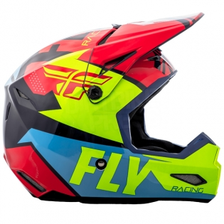 2018 Fly Racing Elite Helmet - Guild Gloss Red Blue Hi Viz Image 3