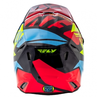 2018 Fly Racing Elite Helmet - Guild Gloss Red Blue Hi Viz Image 4