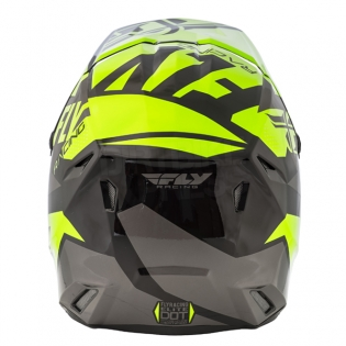 2018 Fly Racing Elite Helmet - Guild Gloss Hi Viz Grey Black Image 4