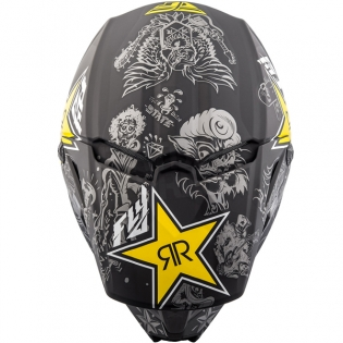 2018 Fly Racing Elite Helmet - Rockstar Black Charcoal Yellow Image 2