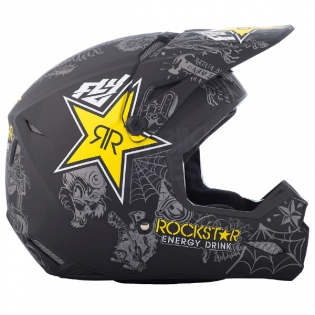 2018 Fly Racing Elite Helmet - Rockstar Black Charcoal Yellow Image 3