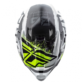 2018 Fly Racing Kinetic Burnish Helmet - Black White Hi Viz Image 2