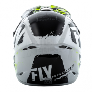2018 Fly Racing Kinetic Burnish Helmet - Black White Hi Viz Image 4