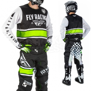 2018 Fly Racing Kinetic Kit Combo - Era Black White Hi Viz Image 2