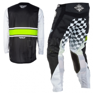 2018 Fly Racing Kinetic Kit Combo - Era Black White Hi Viz Image 4