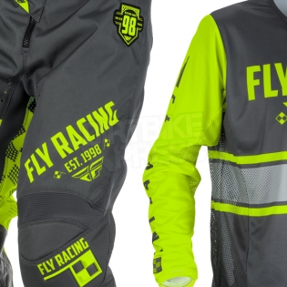 2018 Fly Racing Kinetic Kit Combo - Era Grey Hi Viz Image 3