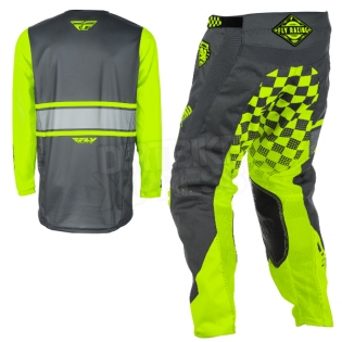 2018 Fly Racing Kinetic Kit Combo - Era Grey Hi Viz Image 4