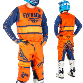 2018 Fly Racing Kinetic Kit Combo - Era Orange Navy Image 2