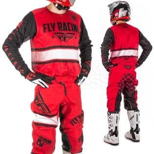 2018 Fly Racing Kinetic Kit Combo - Era Red Black Image 2