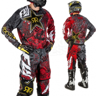 2018 Fly Racing Kinetic Kit Combo - Rockstar Black White Red Image 3