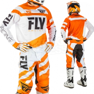 2018 Fly Racing F16 Kit Combo - Orange White Image 2