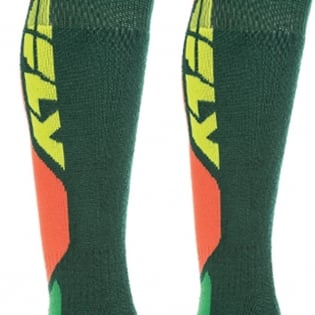 Fly Racing MX Pro Thick Socks - Green Orange Image 4