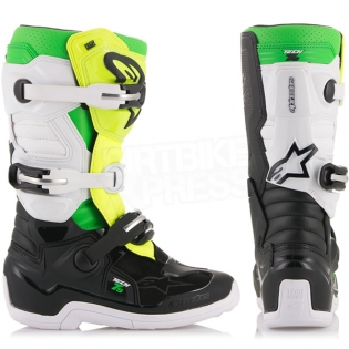 Alpinestars Kids Boots Tech 7S - LE Prodigy Black White Flo Green Image 2