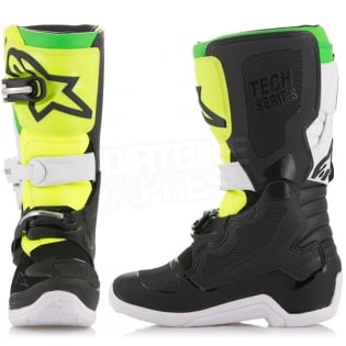 Alpinestars Kids Boots Tech 7S - LE Prodigy Black White Flo Green Image 4