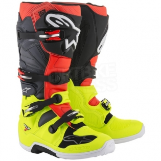 Alpinestars Tech 7 Boots - Flo Yellow Flo Red Grey Black Image 3