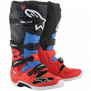 Alpinestars Tech 7 Boots - Flo Red Cyan Grey Black Image 3