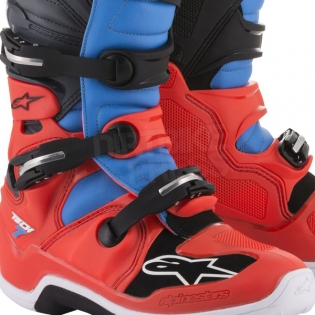 Alpinestars Tech 7 Boots - Flo Red Cyan Grey Black Image 4