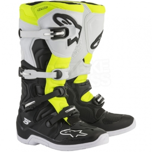 Alpinestars Tech 5 Boots - Black White Fluo Yellow Image 3