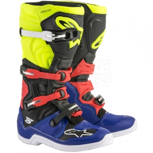 Alpinestars Tech 5 Boots - Blue Black Fluo Yellow Red Image 3