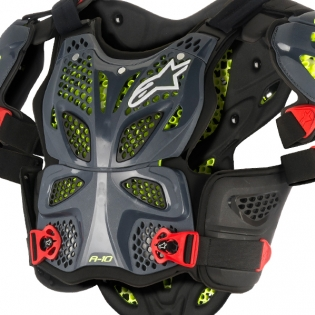 Alpinestars A10 Full Chest Protector - Anthracite Black Red Image 2