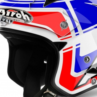 2018 Airoh TRR Trials Helmet - Wintage Red White Blue Gloss Image 2