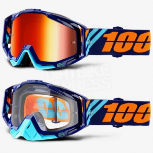 100% Racecraft Goggles - Calculus Navy Mirror Lens Image 2