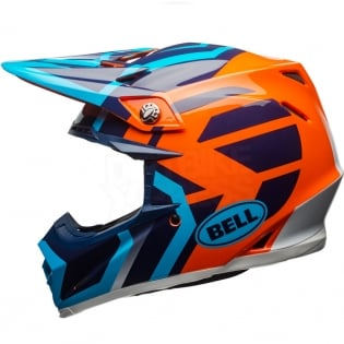 Bell Moto 9 MIPS Helmet - District Blue Orange Image 2