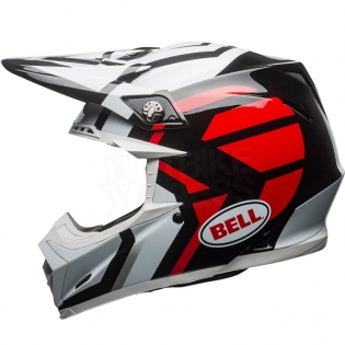 Bell Moto 9 MIPS Helmet - District White Black Red Image 2
