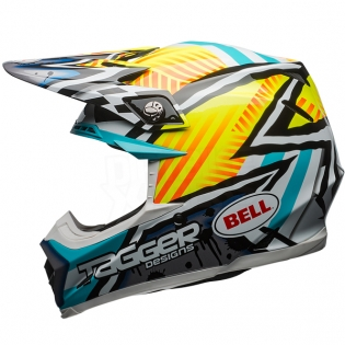 Bell Moto 9 MIPS Helmet - Tagger Asymmetric Yellow Blue White Image 2