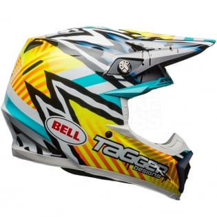 Bell Moto 9 MIPS Helmet - Tagger Asymmetric Yellow Blue White Image 4