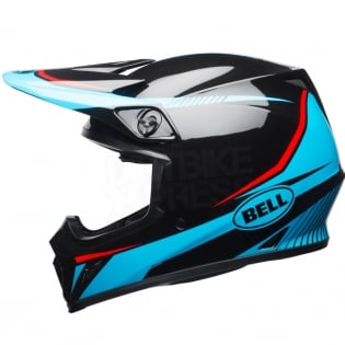 Bell MX9 MIPS Helmet - Torch Black Cyan Red Image 2