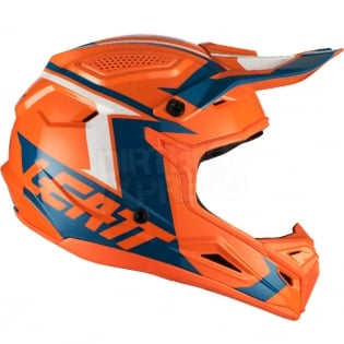 2018 Leatt Kids GPX 4.5 V22 Helmet - Orange Denim Blue Image 4