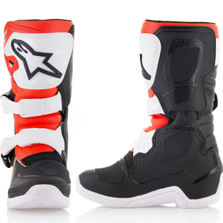 Alpinestars Kids Boots Tech 3S - Black White Flo Red Image 2