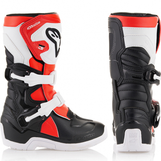 Alpinestars Kids Boots Tech 3S - Black White Flo Red Image 4
