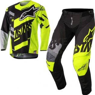 2018 Alpinestars Techstar Kit Combo - Screamer Blk Flo Ylw Grey Image 3