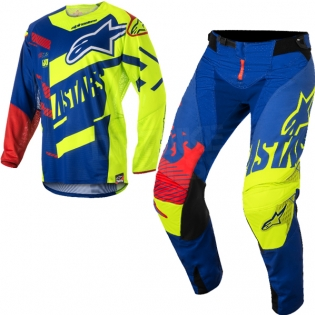 2018 Alpinestars Techstar Kit Combo - Screamer Blue Flo Ylw Rd Image 3