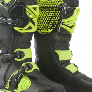 2018 Fly Racing Maverik Kids Boots - Black Hi Viz Image 3