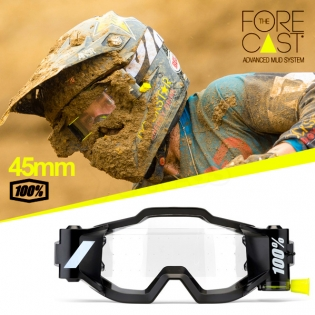 100% Accuri Forecast Mud Goggles - Fluo Yellow Clear Lens Image 2