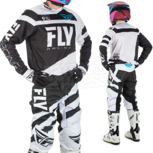 2018 Fly Racing F16 Kit Combo - Black White Image 2