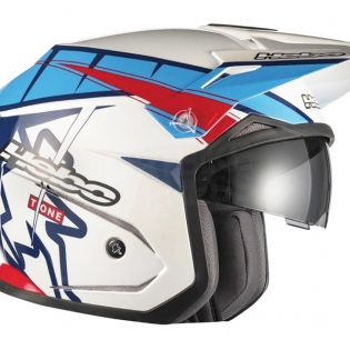 Hebo Zone 5 Polycarb Trials Helmet - T-One Blue White Image 3