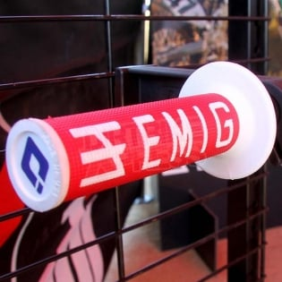 ODI EMIG Racing Lock On Red White Motocross Grips Image 4