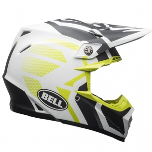 Bell Moto 9 MIPS District Matte White Black Green Helmet Image 3