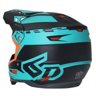 6D ATR-2 Sector Teal Orange Helmet Image 3